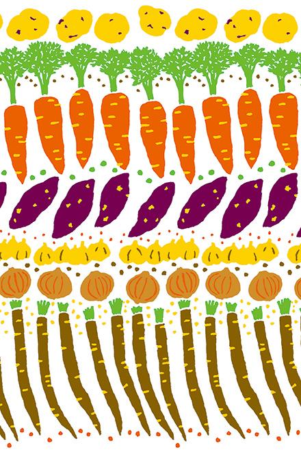 平成27年のテーマ「野菜」をイメージした、脇阪さんによるテキスタイル。