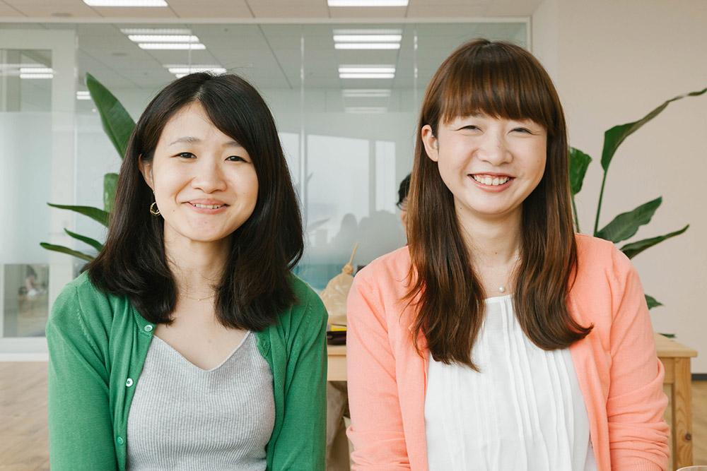 女子たち(左から:うちだ、あおき。)