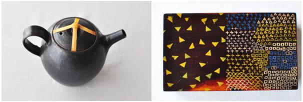 左:固定するのに使うマスキングテープ。右:クロフ舎さんが自分で絵を描いた道具箱。