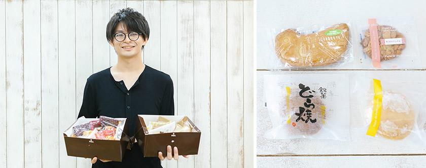 写真右:右上から時計回りに「Nikko テュイル」「チーズ入り ブッセ」「どら焼き」「カワセミサブレ(カワセミは日光市の市鳥)」