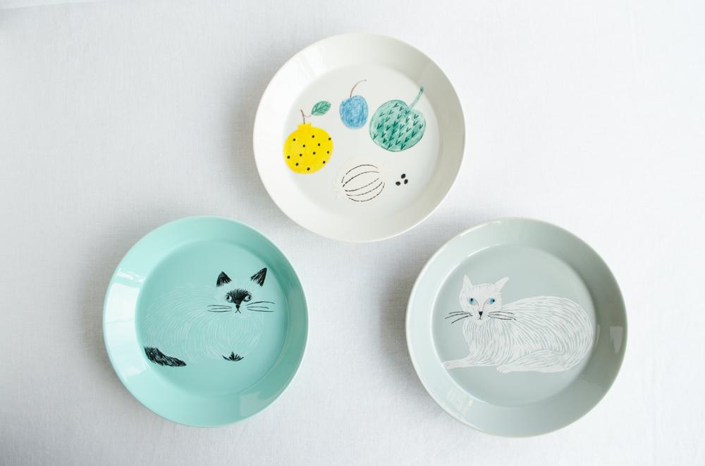 お取り寄せ通販 人気イラストレーター松尾ミユキさんのねこのうつわ マグカップホーロー皿プレート
