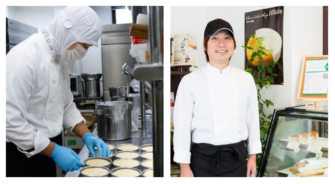 こちらは、長年ヒキタのケーキ作りに携わるシェフ・パティシエの飯田さん。